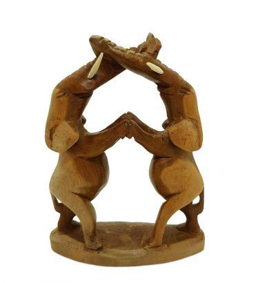 Tanzendes Elefantenpaar - Holz - geschnitzt - Deko - Geschenkartikel