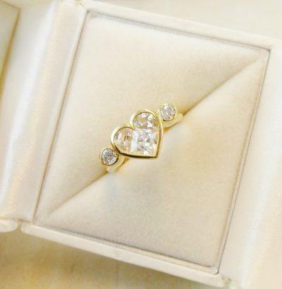Topas Ring mit Herz Sterlingsilber – 14 Karat vergoldet (Gelbgold) Größe 54 bzw. 7 (US) Verlobungsring Schmuck