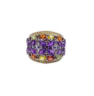 Exquisiter Ring mit Amethyst Blüten und bunten Saphiren Sterlingsilber – 14 Karat vergoldet (Weißgold) Verlobungsring Ring Einzelstück