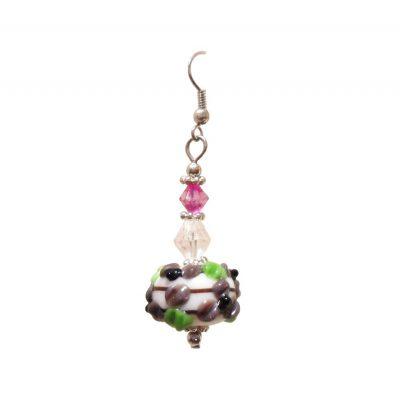 Handgefertigte Lampwork Glasperlen Ohrhänger - Weiß Grün Pink Schwarz Braun Schmuck
