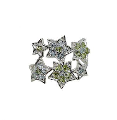Außergewöhnlicher Topas Peridot Sterne Ring Sterlingsilber – 14 Karat vergoldet (Weißgold) Schmuck Einzelstück