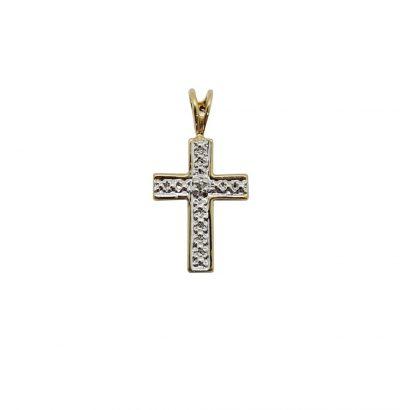Zarter Kreuz Anhänger mit Diamant Bicolor Sterlingsilber vergoldet Gelbgold Schmuck Einzelstück