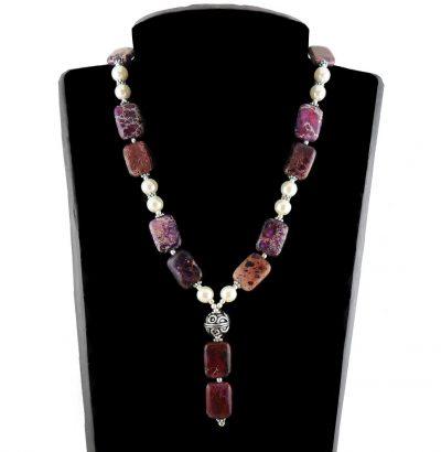 Handgefertigtes Sediment-Jaspis Perlen Collier - Einzelstück Schmuck